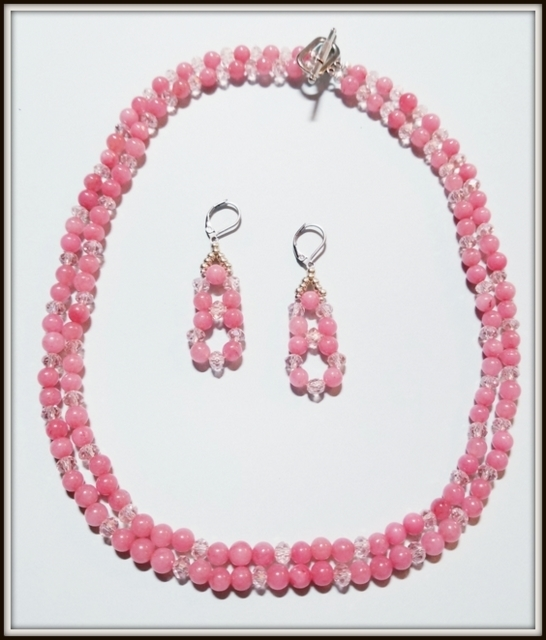 Double Strand Pink Jade Necklace