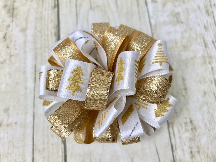 Christmas Trees, Gold And White, Loopy Hair Bow, New, Gift