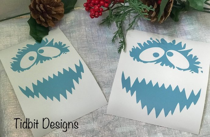 Set of 6 Ornament Size Bumble the Abominable Snowman Decal / Sticker/ Sticker /