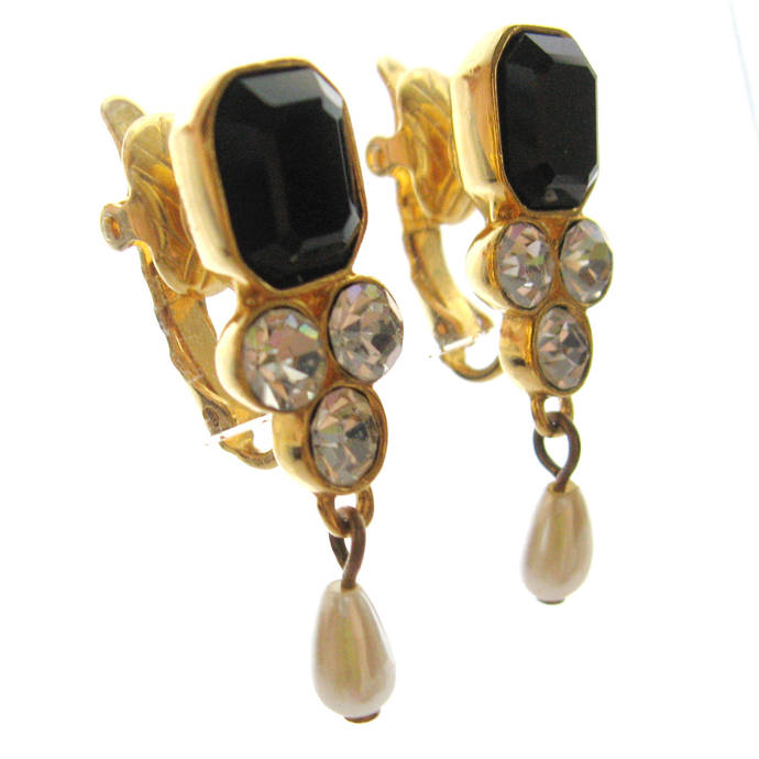 Vintage Black Onyx Glass Rhinestone Faux Pearl Dangle Earrings, White