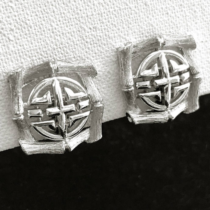 Vintage Signed LISNER Asian Design Bright Silver Tone Square Clip Earrings, 1