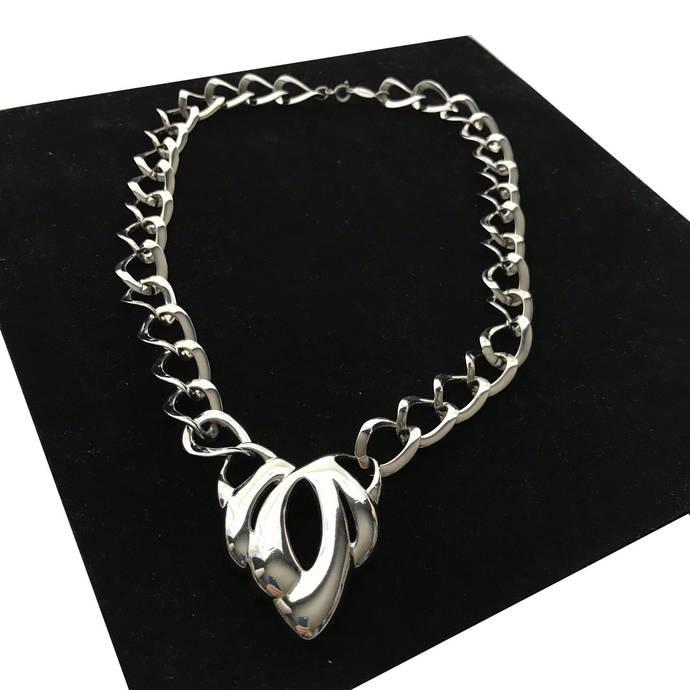 Vintage NAPIER Large Curb Link Modernist Bib Necklace, Silver Tone Designer
