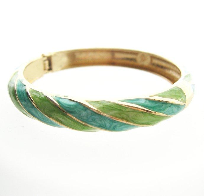 Vintage Teal Lime Clamper Cuff Bracelet, Green Aqua Blue Gold Tone, 80s Round