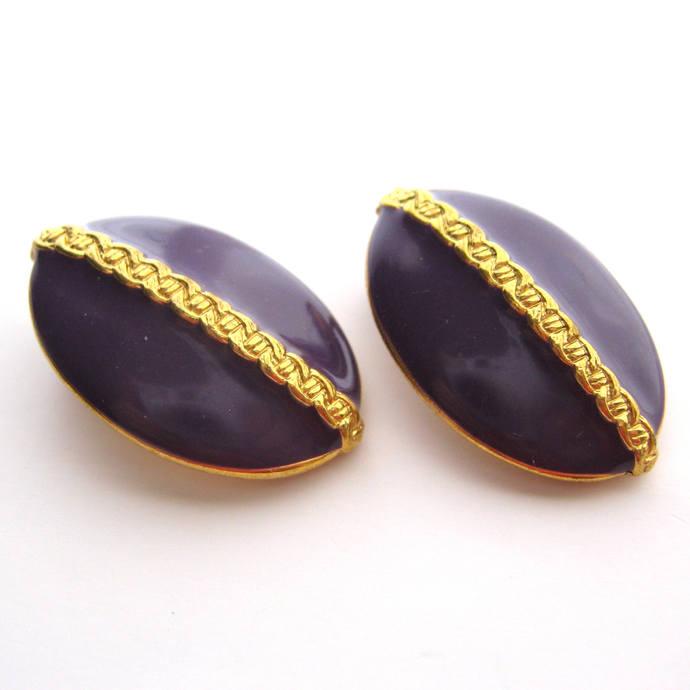 Vintage Royal Purple Gold Clip On Earrings, 1 inch Oval Button Earrings,  Greek