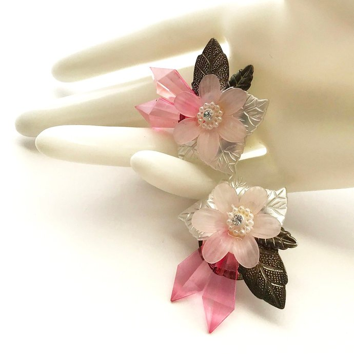 Vintage 50s Plastic Flower Pink Earrings, Frosted Floral, Metallic Aged Bronze