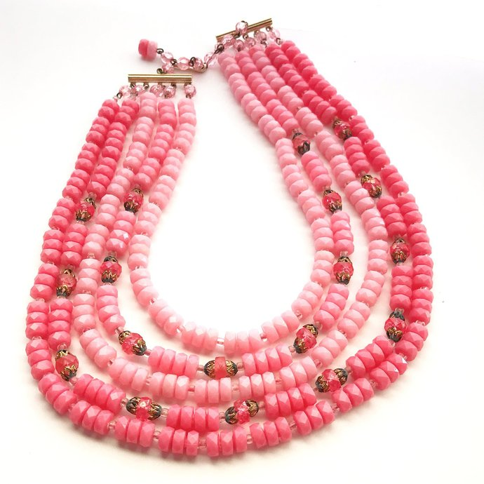 Vintage 50s W Germany Graduated Pink Beaded 5-Strand Necklace, 13 to 16 Inch,