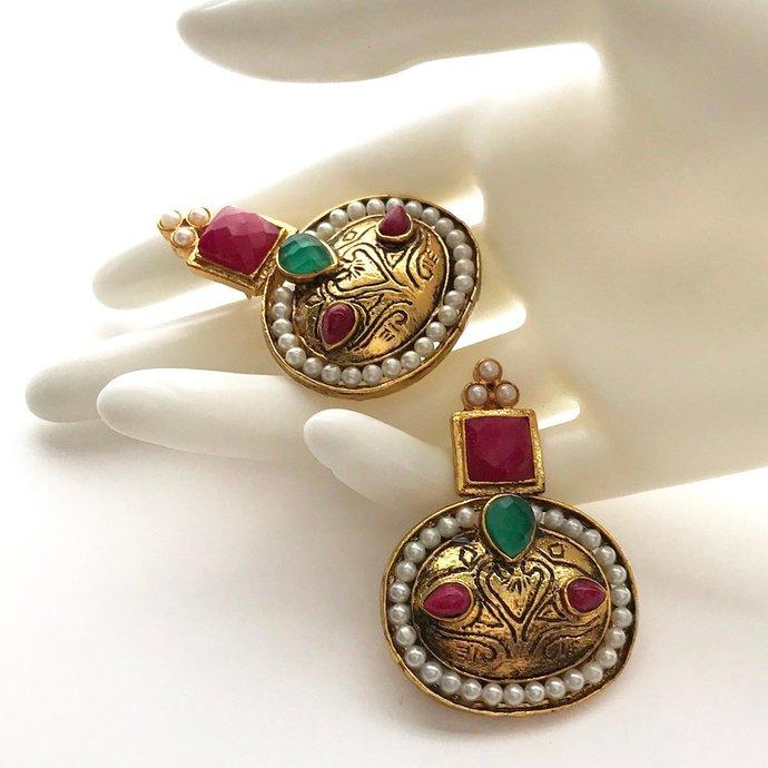 Vintage Stunning Large Embellished Mughal Mogul Revival Pierced Earrings, Pink