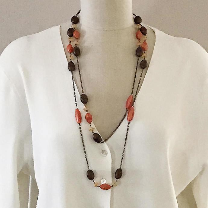 Vintage Extra Long Bead Chain Necklace, 64 In, Double Triple Wrap, Bronze Orange