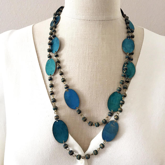 Vintage Extra Long Teal Wood Bead and large Painted Brass Oval discs  Necklace,