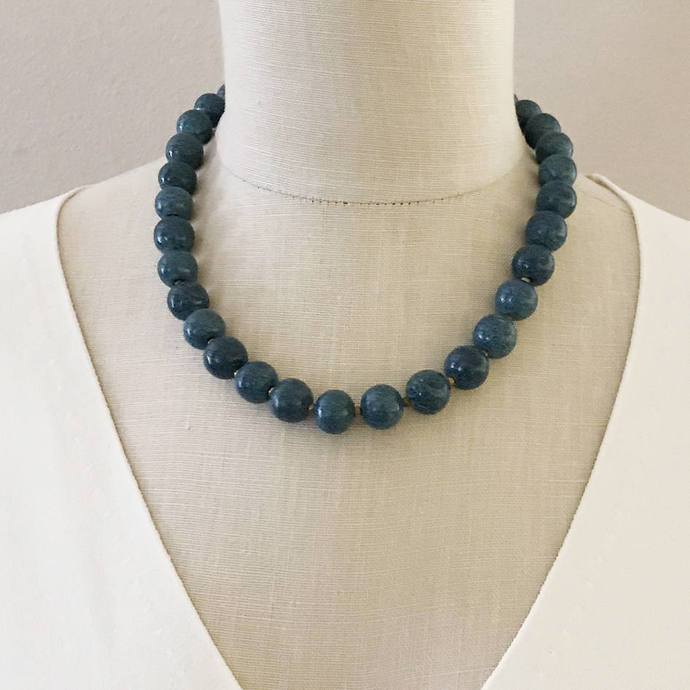 Vintage Teal Ceramic Stone Beaded Necklace, 19 In, Single Strand Round Turquoise