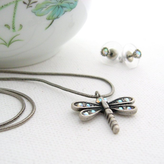 Vintage Dragonfly Jewelry Set, Faux Pewter Insect AB Crystal Rhinestone Pendant