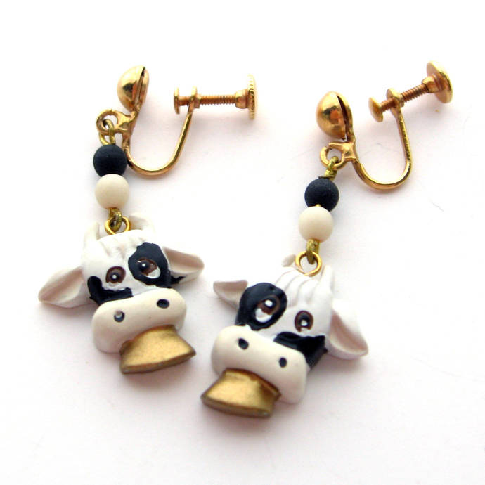 Vintage Whimsy Holstein Cow Earrings, 80's Holstein Cow Fad Halloween Costume