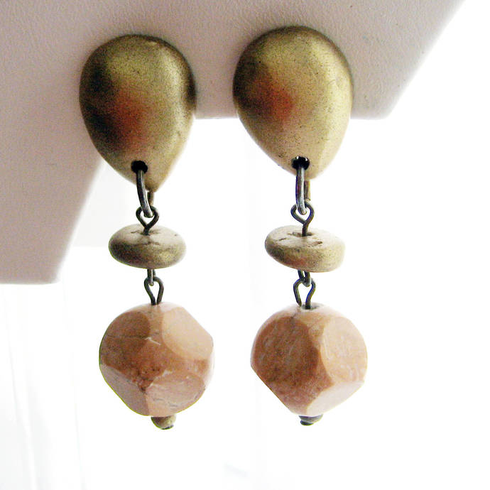 Vintage Marble Stone Nugget Gold Metallic Wood Bead Earrings, Large Facet Drop