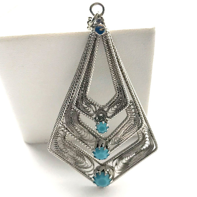 Vintage Turquoise Facet Glass Silver Tone Filigree Pendant Necklace, 24 Inch,