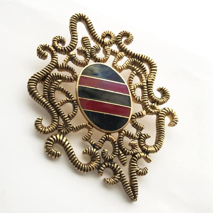 Vintage Militaria Stripe Brooch Pin, Royal Sash Design Brooch, Large Twisted