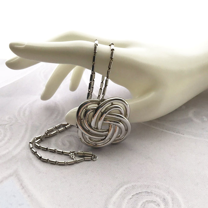 Vintage Signed TRIFARI Celtic Knot Pendant Necklace, 18 Inch, Woven Knot, Silver