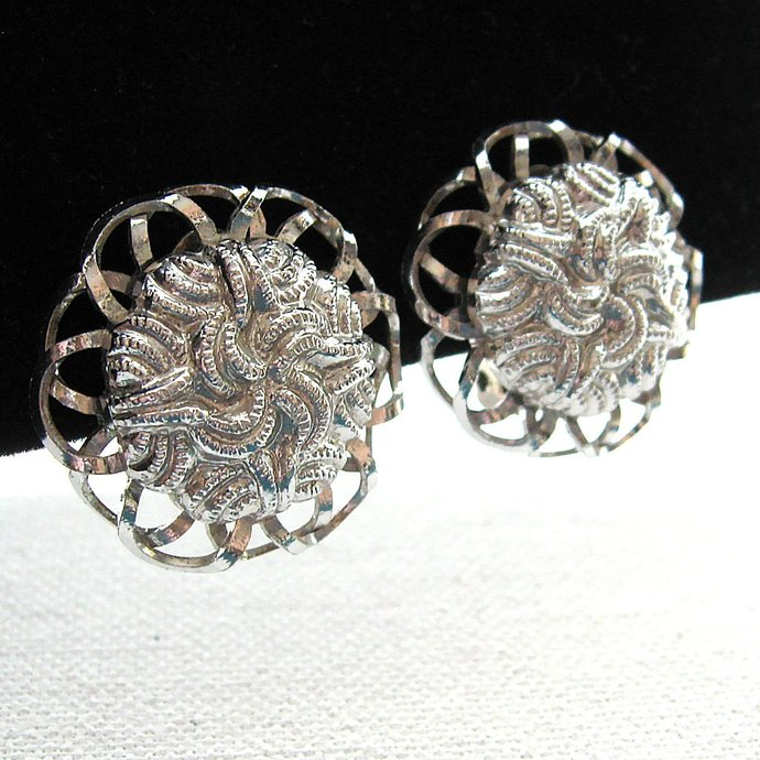 Vintage Silver Tone Textured Button Earrings, Clip On Earrings, Filigree Knotted
