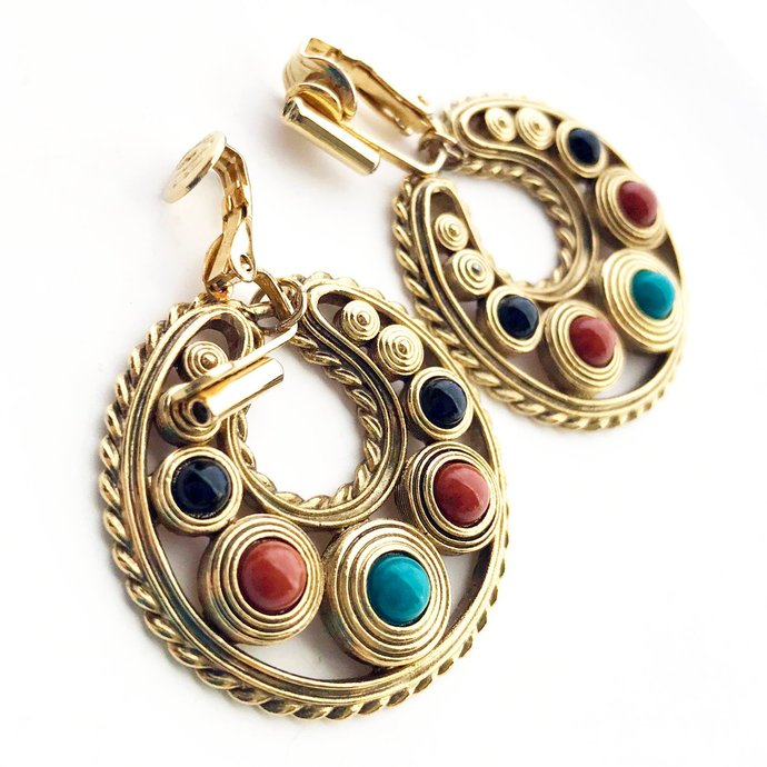 Vintage Dangle Gold Tone Glass Cabochon Hoop Earrings, 2 In Clip, Rust Turquoise