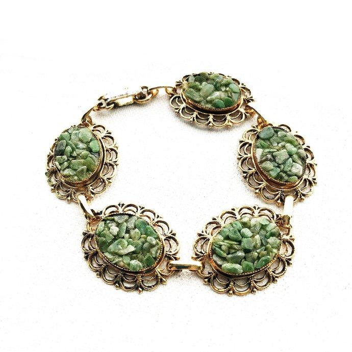 Vintage Filigree Jade Chip Nugget Link Cuff Bracelet, 7 Inches, Oval Stamped
