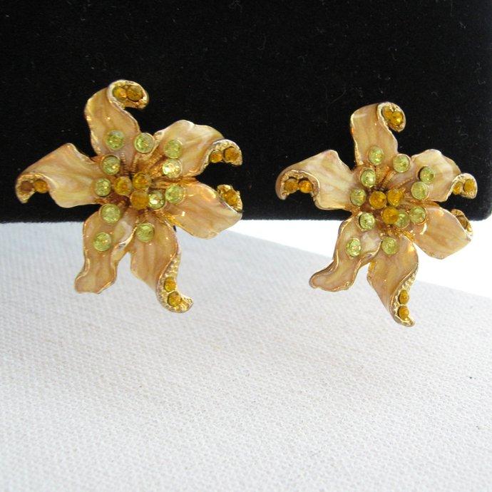 Vintage Floral Flower Rhinestone Enamel Earrings, High End Gold Pearl Enamel,