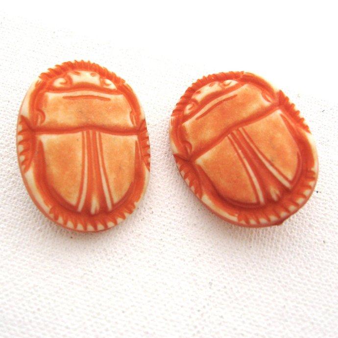 Vintage Scarab Lucite Egyptian Revival Earrings, Matte Washed Orange Coral,