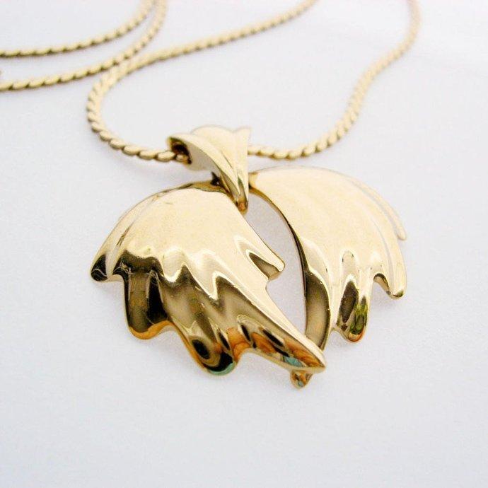 Vintage Signed MONET 14k Gold Plate Wings Pendant Necklace, Bow or Graceful Leaf
