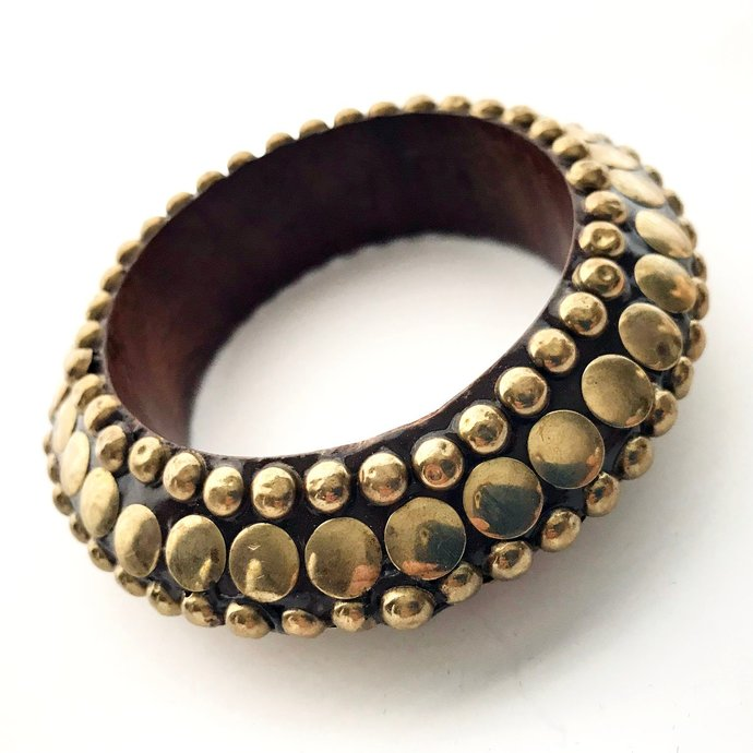 Vintage High End Thick Wide Wood Brass Bangle Bracelet, Stunning Dark Wood