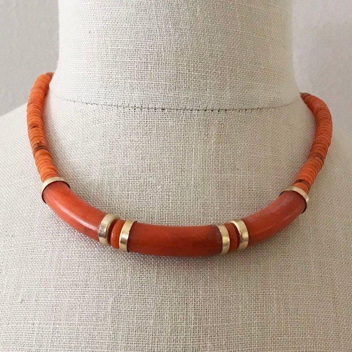 Vintage Orange Celluloid Modernist Minimalist Necklace, 18 In, Mid Century