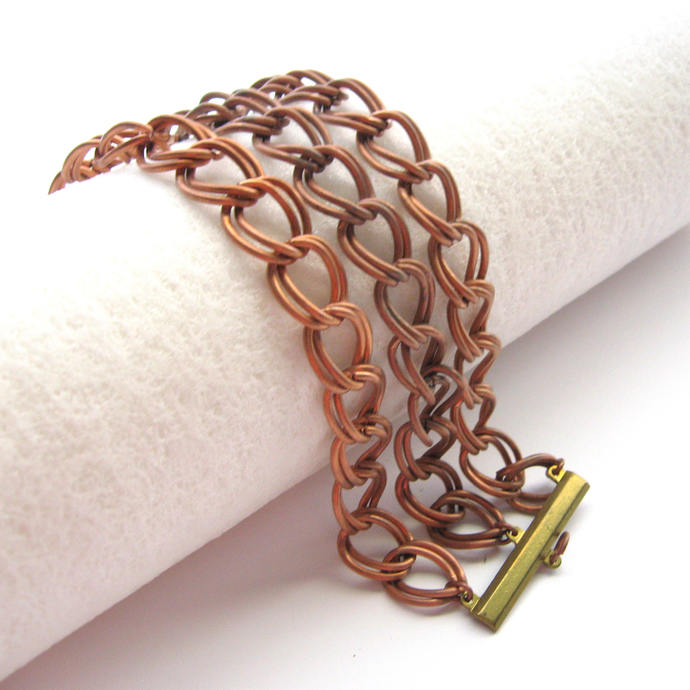 Vintage Large Double Curb Chain Copper Bracelet, 7.5 In, Three Chain Copper