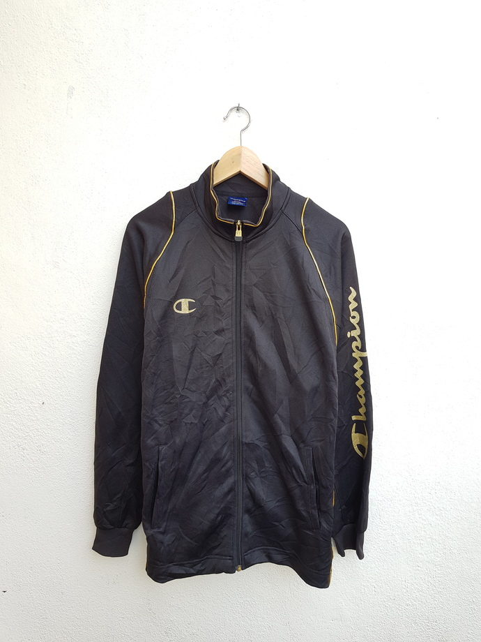 Vintage 90s CHAMPION Track Sportswear Gold Color Logo Spell Out Printed Sleeve