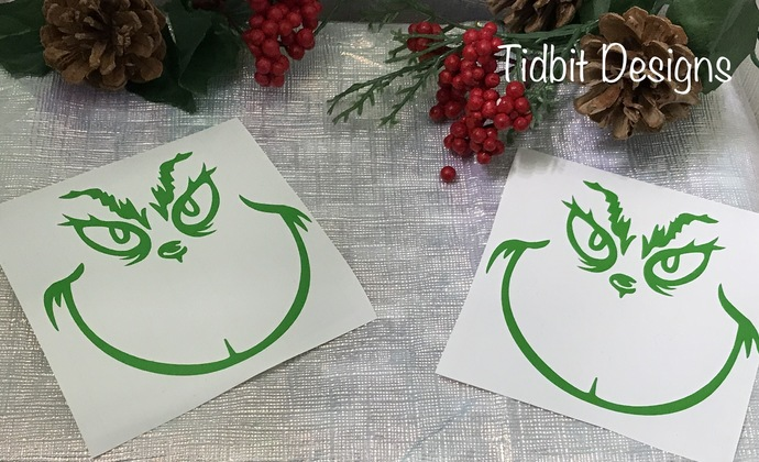 Ornament Size Grinch Face Vinyl Decal / Sticker / D.I.Y Project / Christmas /