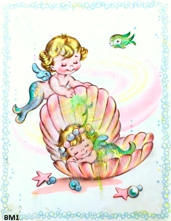 Baby Mermaid Fabric Tickling Mermaid Feather Clam Shell