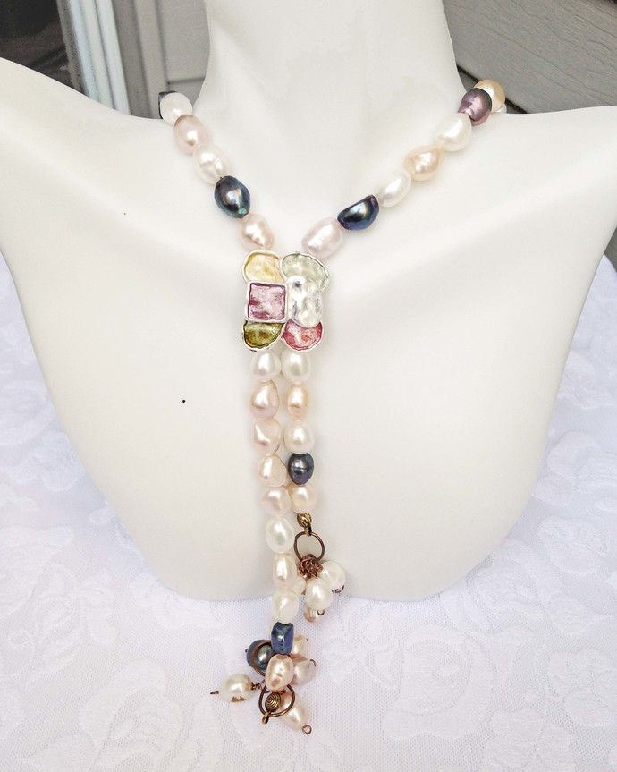 Long Beadednecklace, Lariat Look Pearl Necklace, Freshwater Oval Pearls, Bolo