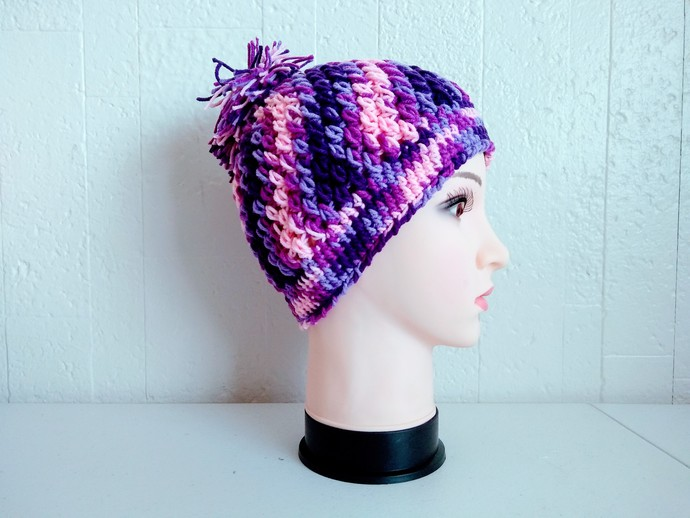 Pom Pom Beanie Hat, Purple Passion Crochet Hat by Vikni Designs