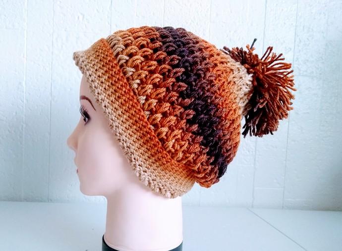 Pom Pom Crochet Hat, 2 in 1 Slouchy Beanie Hat Brown Latte by Vikni Designs