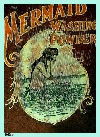 Vintage Mermaid Advertisement Washing Powder Ad Fabric Sewing Applique Size 5x7