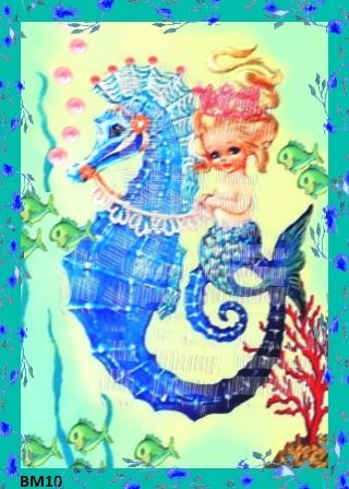 Vintage Seahorse Merbaby Fabric Greeting Card Retro Cotton Print Material Craft