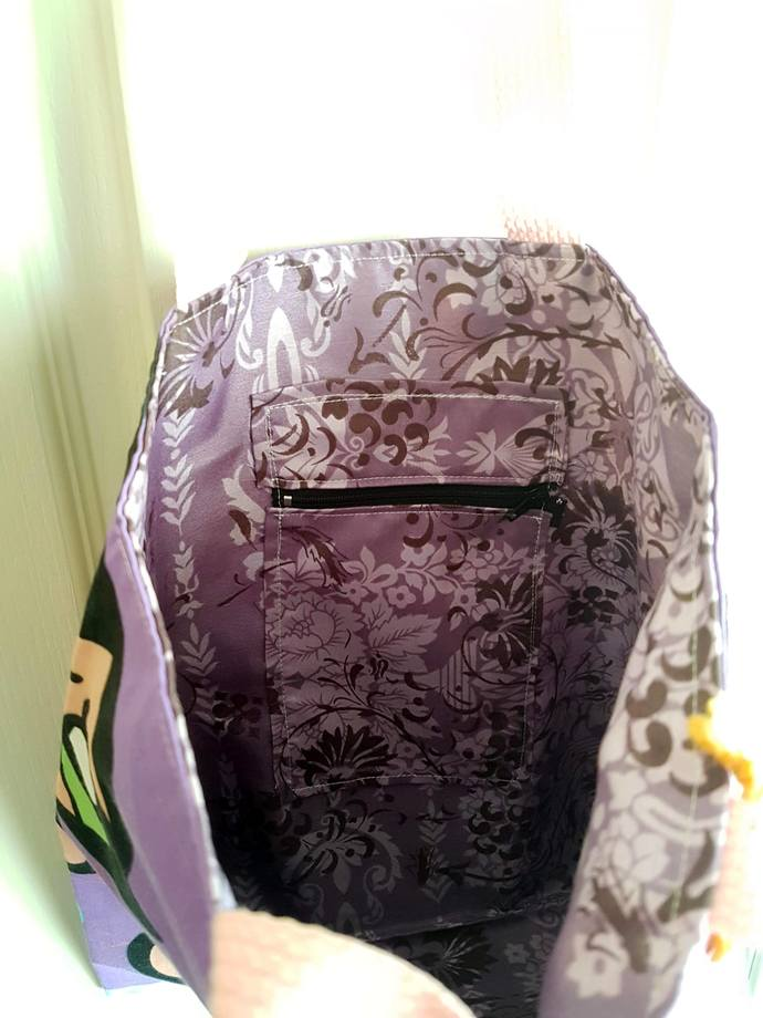 Purple Powerpuff Girls Tote Bag Purse - Blossom, Buttercup & Bubbles