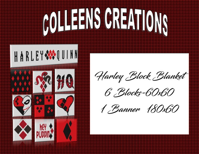 Harley Quinn Block Blanket Crochet Design with the Graph and Written row-by-row