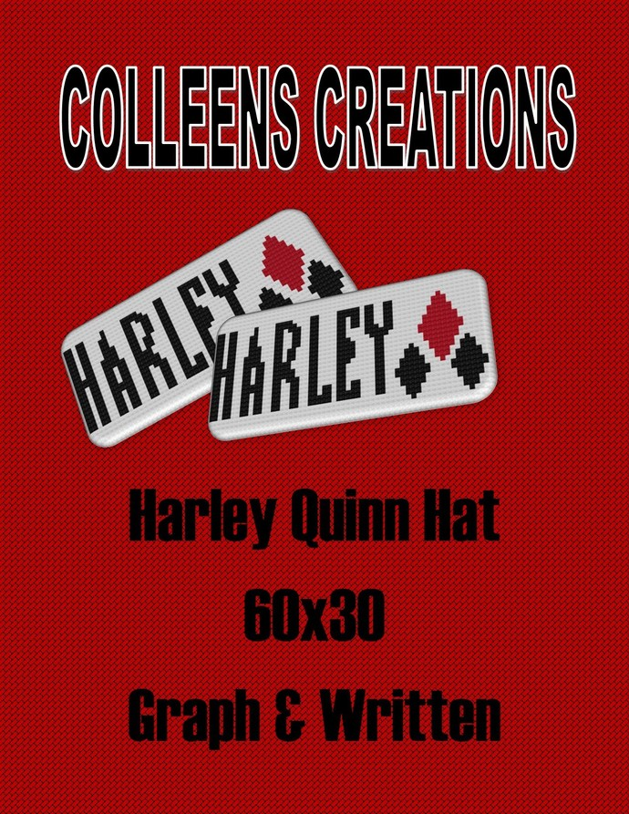 Harley Quinn Crochet Hat Design-with written and graph
