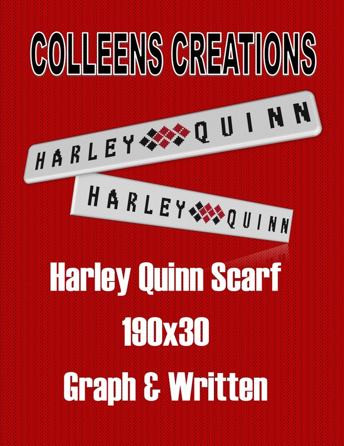 Harley Quinn Scarf Crochet Graph with written