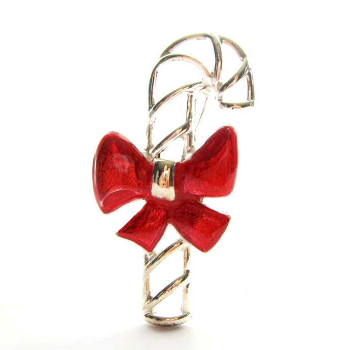 Vintage Open Work Figural Candy Cane Brooch Silver Tone, Red Enamel Bow, Vintage