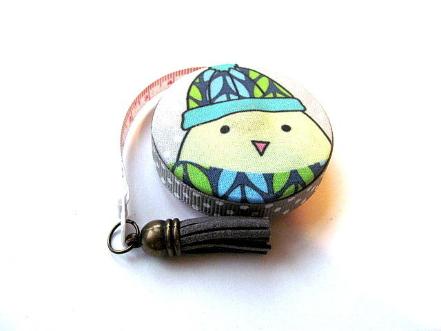 Tape Measure Winter Dressed Dog and Bird  Retractable Measuring Tape