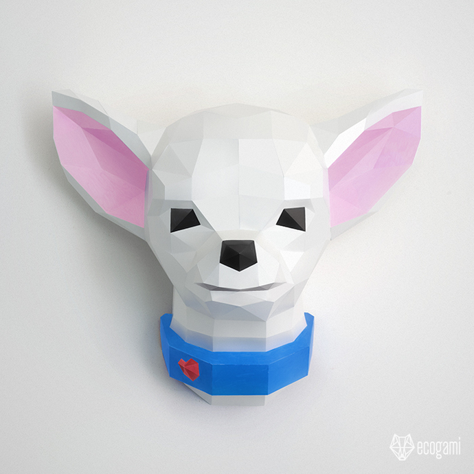 Papercraft chihuahua trophy | DIY pet wall mount décor | 3D sculpture |
