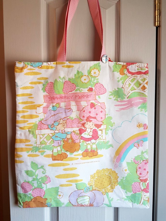 Strawberry Shortcake Market Tote Bag Purse - Vintage Repurposed Fabric