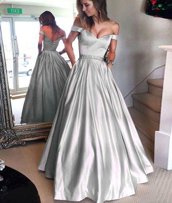 395dd9df416 Cute off shoulder long prom dress