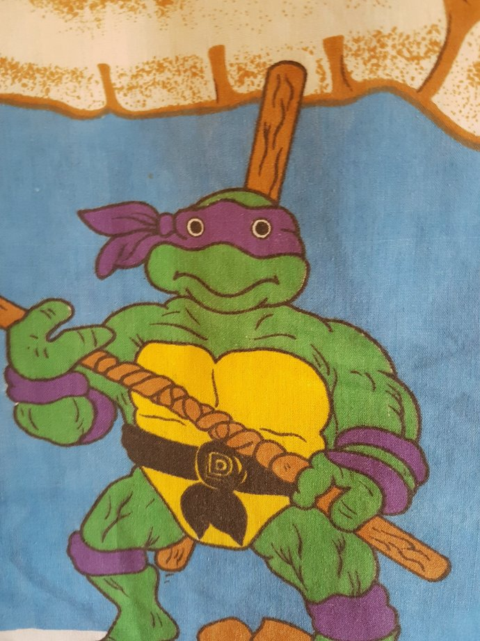 Teenage Mutant Ninja Turtles Tote Bag - Vintage Repurposed Fabric
