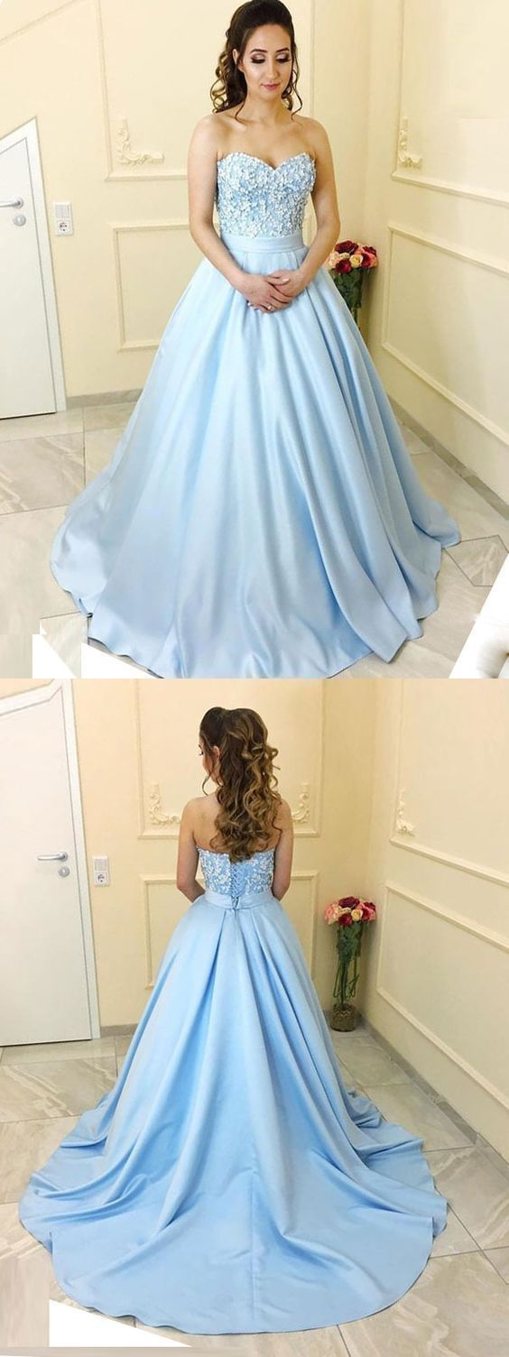 ed1cc3149 Elegant Ball Gown Sweetheart Open Back Light Blue Long Prom Dresses with  Lace,
