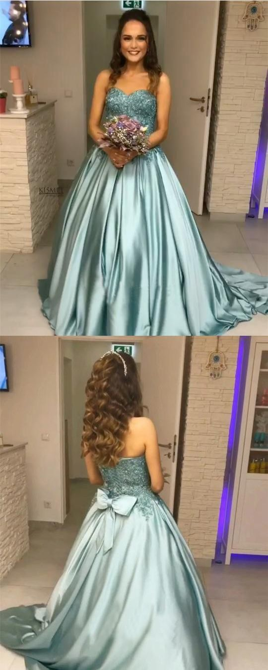 91516fc4067 Princess Blue Beaded Sweetheart Strapless Ball Gown Long Prom Dresses