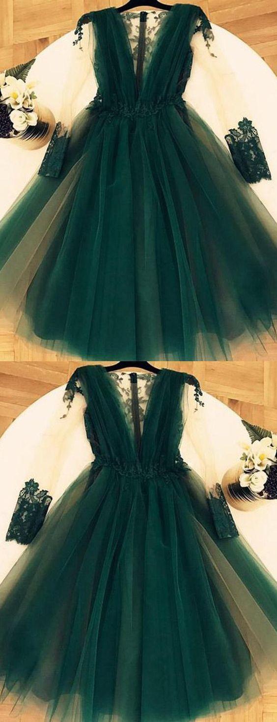 Short Prom Dress, V-Neck Prom Dress, Prom Dress Long, Prom Dress With Appliques
